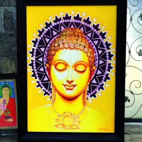 Chitrasanthe Buddha Art Bangalore Painting Streetart Talent Bengalooru Bengaluru Creative Peace Beautiful Color God Artlovers Artscouting Artfair Art in bangalore India Trance