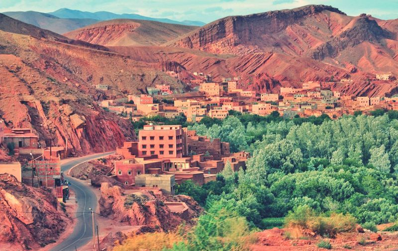 Oasis Morocco Travelinafrica Tree Mountain Arid Climate Desert Agriculture Rural Scene High Angle View Landscape Remote Valley Non-urban Scene Arid Landscape Scenic View Tranquil Scene Mountain Road Rocky Mountains Countryside Mountain Range Tranquility