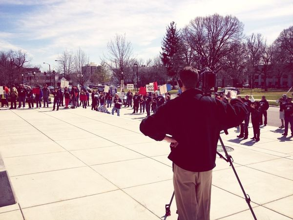 Channel 6 TV & @radioboise the only press covering postal workers rally during #treefort2013