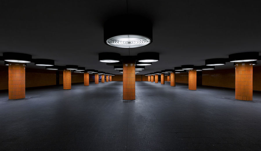 Architecture Concrete Dark Empty Illuminated Indoors  Messe Nord Icc Night No People Orange Underground Capture Berlin