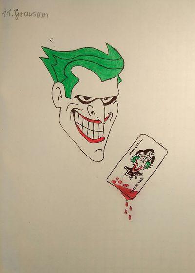 Inktober 11. Thema: Grausam Inktober 2018 Zeichnung  Zeichnen Figur Joker Spielkarte Blut