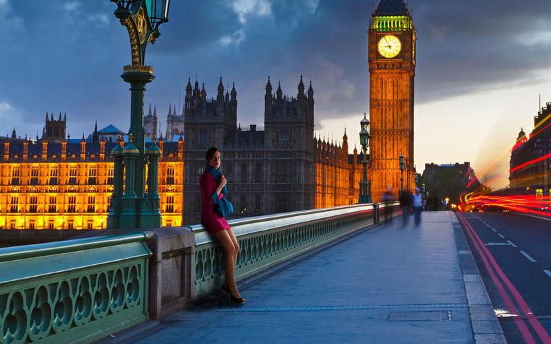 Full length of woman on westminster bridge against big ben clock tower