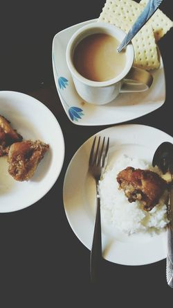 My Favorite Breakfast Moment Aviary Samsung Samsunggalaxygrandprime PhonePhotography Samsungphotography Phoneography Coffee ☕ Crackers Rice Fried Chicken Spoon And Fork