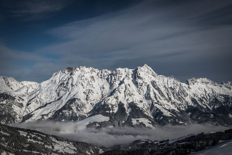 Cold Temperature Mountain Winter Beauty In Nature Scenics - Nature Sky Cloud - Sky Snow Tranquil Scene Snowcapped Mountain Mountain Range Tranquility Environment Non-urban Scene Nature No People Idyllic Landscape Day Mountain Peak Formation