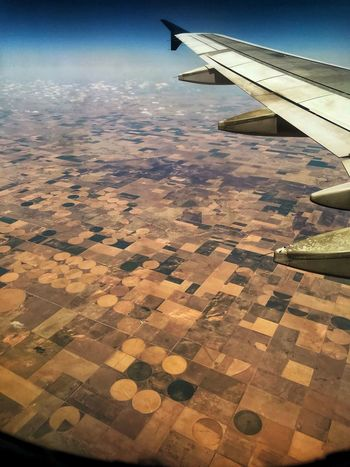 Pattern, Texture, Shape And Form Circles And Squares Up In The Air Fieldscape Fields MidWest Air Vehicle Travel Landscape Scenics - Nature Outdoors Mid-air Motion No People Nature Environment