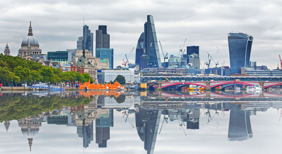 Architecture Building Exterior Cheesegrater Building City City Life Cityscape Day Gherkin Tower London Outdoors Panorama Reflection River Thames Skyline St Pauls Cathedral Travel Destinations Urban Skyline Walkie Talkie Building Water