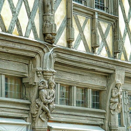 """Maison d' Adam, details"". Anno 1491 Facades Carving Wood Art Typical Houses Maison à Colombages Historical Building Timber Frame Fachwerkhaus Angers France"