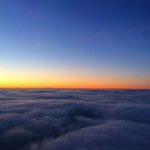 Early morning flight up in the clouds ❤ Nature Beauty In Nature Scenics Blue Sunset Aerial View Tranquility Tranquil Scene Sky Idyllic No People Backgrounds Cloud - Sky Outdoors Sky Only The Natural World Day London Cloudporn Sunrise Sunrise_Collection Travel NOMAD Flying High