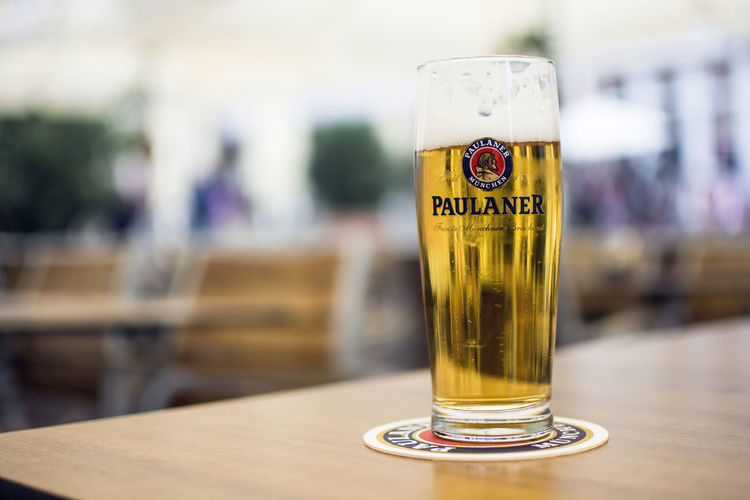 A Glass of Paulaner German Beer on the wooden table Drink Food And Drink Drinking Glass Table Glass Alcohol No People Freshness Beer Day Golden Restaurant Bar Outdoor Beer - Alcohol Refreshment Craft
