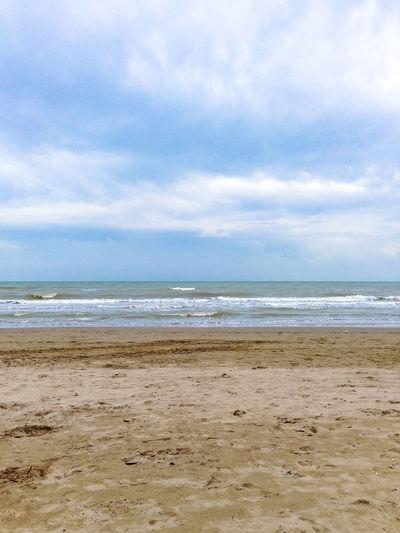 Sky, sea and sand, Italy, Riccione Italy. Riccione Rimini Vacations Beach Cloud - Sky Day Horizon Horizon Over Water Italy No People Outdoors Resort Riccione Sand Scenics - Nature Sea Sky Tranquil Scene Tranquility Water Wave
