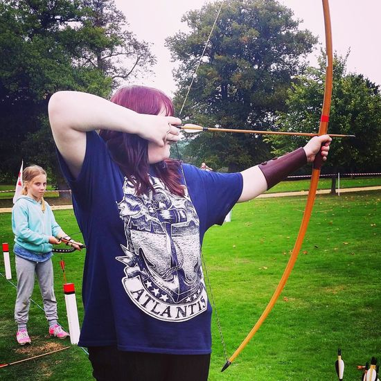 Yep my arm is too high, I know (but to be fair this was ages ago) Sport Tree Standing Leisure Activity Lifestyles Outdoors Skill  Day Archery Arrow - Bow And Arrow Motion Only Women Bow Young Adult Teen One Person Adult People