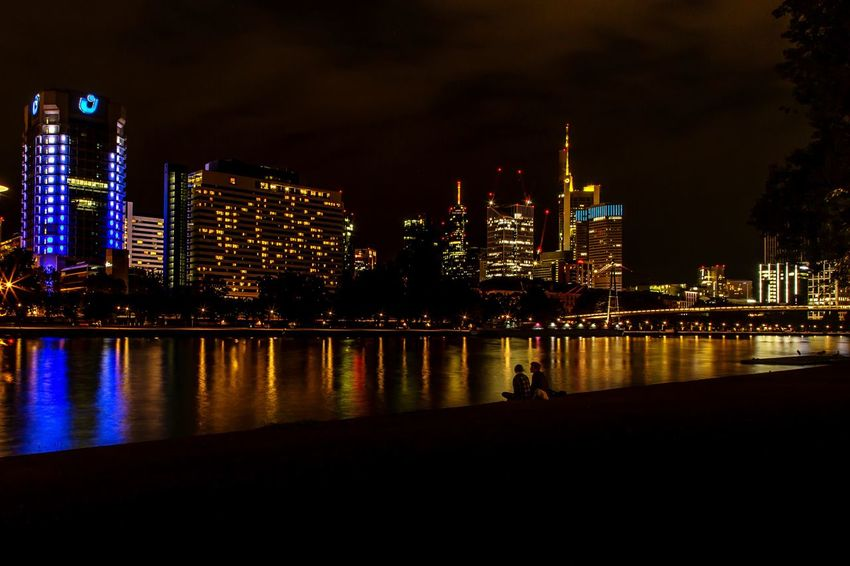 Skyline Frankfurt Building Exterior Architecture Built Structure Night City Illuminated Water Building Sky Cityscape Office Building Exterior Reflection River Waterfront Skyscraper Tall - High Modern Urban Skyline Landscape No People