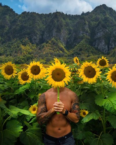 Flower Yellow One Person Human Body Part Field Sunflower EyeEmNewHere