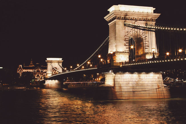 Architecture Bridge Cities At Night 43 Golden Moments Built Structure Chain Bridge Chain Bridge Budapest Column Connection Danube River Development Engineering Famous Place International Landmark Long Night Night Lights Night View Perspective Pier Railing River SUPPORT Suspension Bridge The Architect - 2016 EyeEm Awards