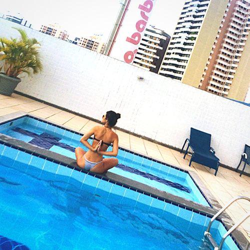 Pool Girl Sunset Summer