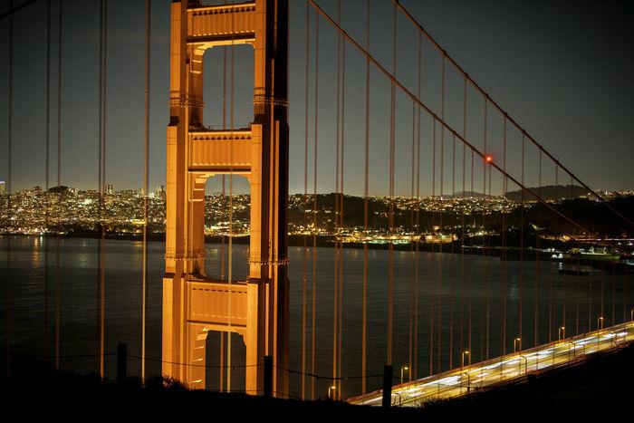 Golden Gate Bridge San Francisco Architecture Bridge - Man Made Structure Building Exterior City Cityscape Close Up Night Suspension Bridge Travel Travel Destinations An Eye For Travel