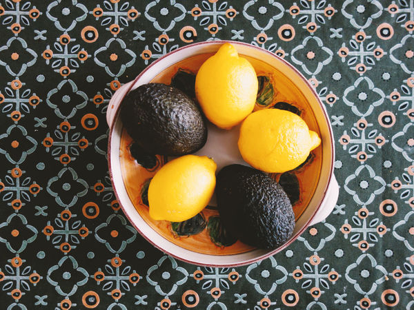 StillLifePhotography Arrangement Avocado Bowl Citrus Fruit Close-up Directly Above Floral Pattern Food Food And Drink Freshness Fruit Healthy Eating High Angle View Indoors  Lemon No People Orange Orange - Fruit Orange Color Pattern Still Life Table Wellbeing
