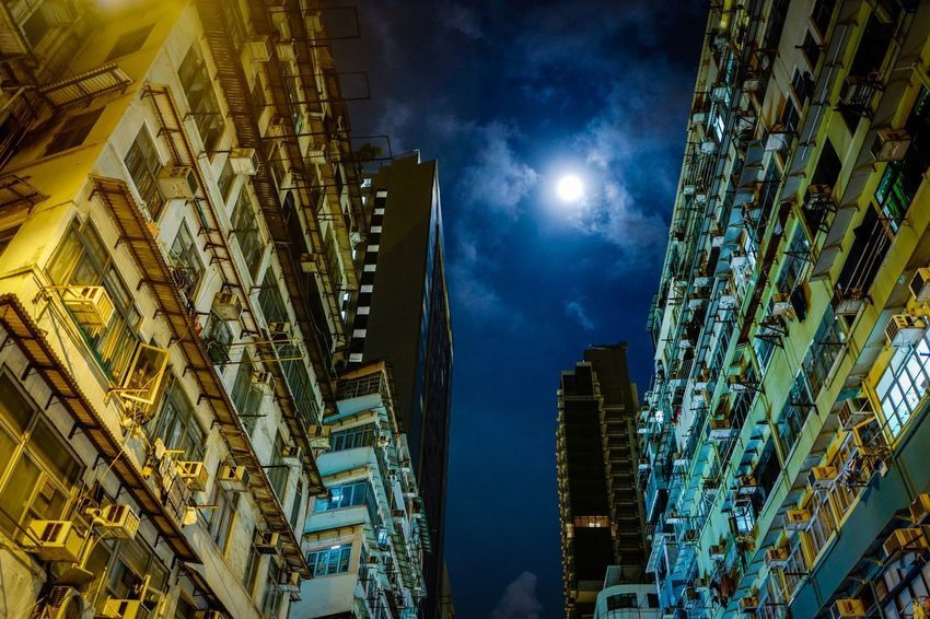 moon night Architecture Building Exterior Low Angle View Built Structure Night Illuminated Skyscraper Sky Modern City Blue No People Moon Outdoors Cityscape Discoverhongkong Moonlight Slow Shutter Nightshooters Beautiful Light And Shadow City Shadows & Lights The Week On Eyem EyeEmNewHere