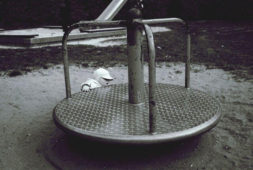First fall Child Playground black & white