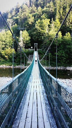 Learning to face my fears Newbrunswick Bayoffundy Suspension Bridge Canada Boy Runningman