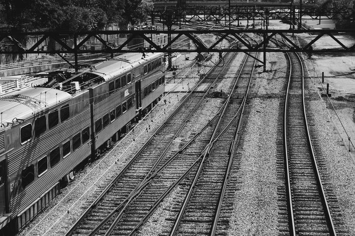 Monochrome Photography Chicago Lines. Transportation Railroad Track Railroad Station Railroad Station Platform The Way Forward Blackandwhite Black And White Chicago CTA Blue Line Subway Finding New Frontiers