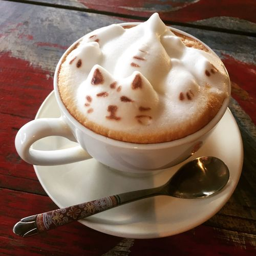 Coffee Cat Morning Rituals Latte Art Milchschaum Morning Coffee Coffee Cup Drink Food And Drink Coffee - Drink Table Cappuccino Latte Food Refreshment