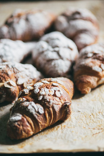 Close-up of sweet croissants on table