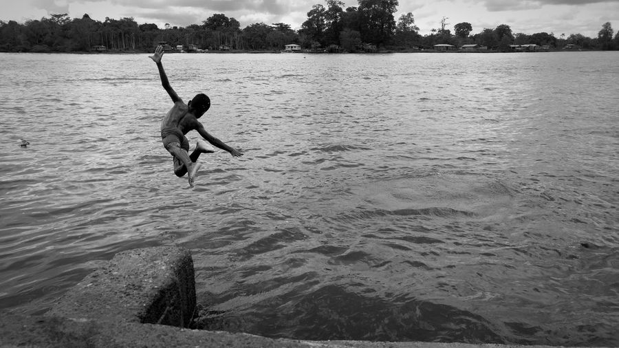 Water Lake Full Length Day Shirtless Outdoors One Person Boys Nature People Men Child One Boy Only Children Only Adult Pacific Ocean Nariño Colombia Blackandwhite Photography Enjoying Life Tadaa Community Black And White Monochrome