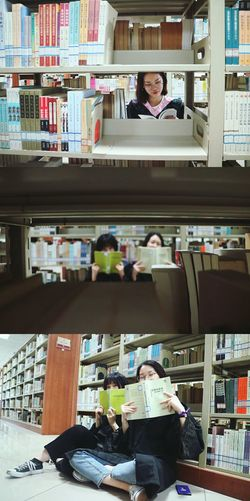 Bookshelf Library Working Portrait Occupation Business Men Women Learning Teamwork