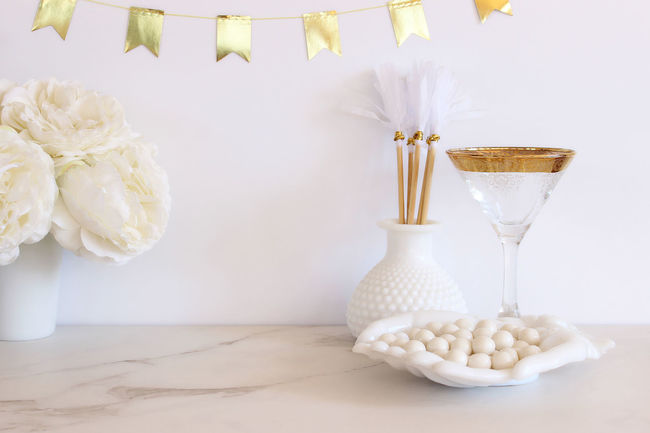 Wedding celebration Bouquet Bridal Brunch Celebration Chic Cocktail Glass Concept Dinner Party Elegant Empty Space Festive Flowers Food And Drink Glamour Gold Luncheon Marriage  Meal Mock Up Party Reception Table Setting Template Wedding White