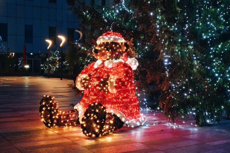 Illuminated christmas tree on floor during winter at night