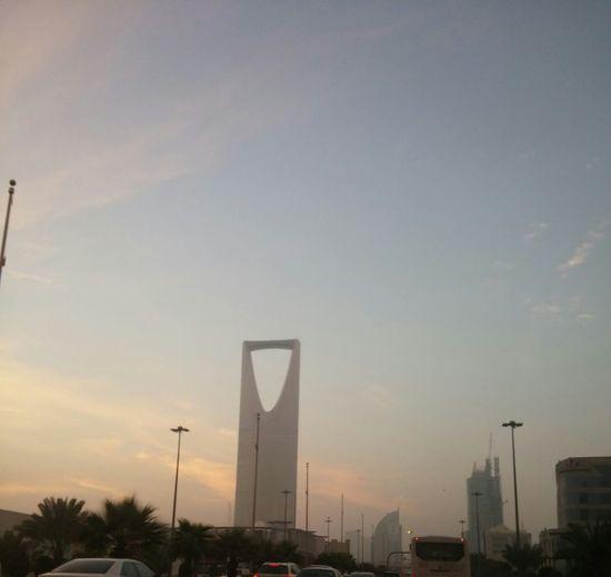 kingdom tower in Riyadh at 6:30 am Arab Arabian Architecture City King Fahad Road Kingdom Tower Low Angle View Morning Riyadh Sky View From The Window... الرياض هذا الصباح الصباح برج المملكة