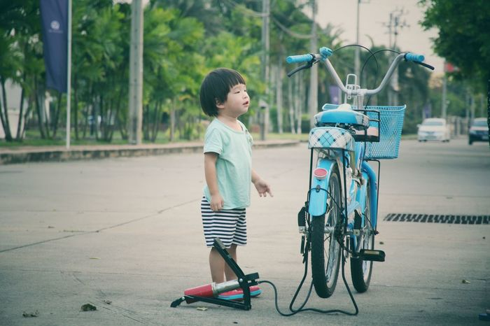Child Childhood Children Only Smiling Outdoors One Person People Sport Day Kid Boy Bicycle Standing Playground Road Sommergefühle