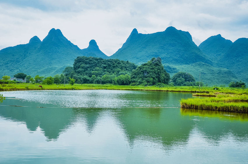 The karst countryside scenery in spring Blue Countryside Farm Fields Fog Green Guilin Karst Mountain Landscape Mist Mountain Background Nature Nature Nature Beauty Outdoors Painting Reflections River Rural Scenery Scenic Springtime Travel Trees View