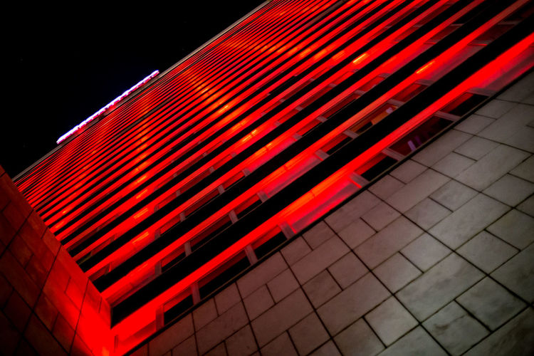Night architecture Lines Low Angle View Close-up Illuminated Lisboa Night No People Outdoors Pattern Red