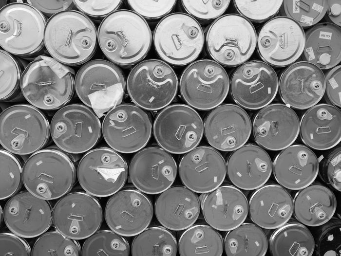 Full frame shot of tin cans