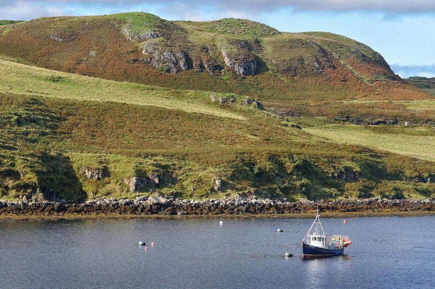 Moored fishing boat near Struan, Isle of Skye Scotland Skye Day Fishing Fishing Boat Isle Of Skye Landscape Mountain Nautical Vessel No People Sea Tranquility Transportation Travel Water