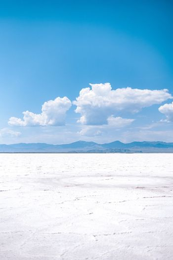 Salty landscape Sky Cloud - Sky Blue Scenics - Nature Tranquility Nature Tranquil Scene Beauty In Nature Land Environment White Color No People Copy Space Idyllic Day Mineral Horizon Salt Flat Landscape Water
