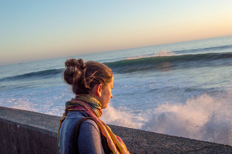 Atlantic Ocean Beach Blond Hair Exploration Hair Bun Horizon Over Water Looking At View Madeira Ocean One Person One Woman Only Only Women Outdoors Rear View Scarf Scenics Sea Wave Long Goodbye