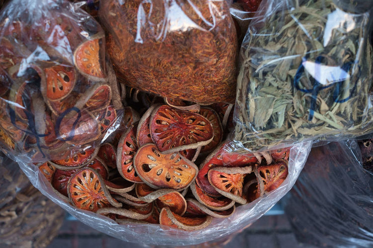 High angle view of herbs and spices for sale in market