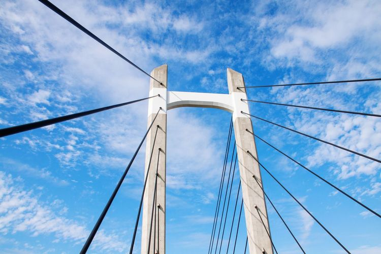 Cable stayed bridge against the blue sky