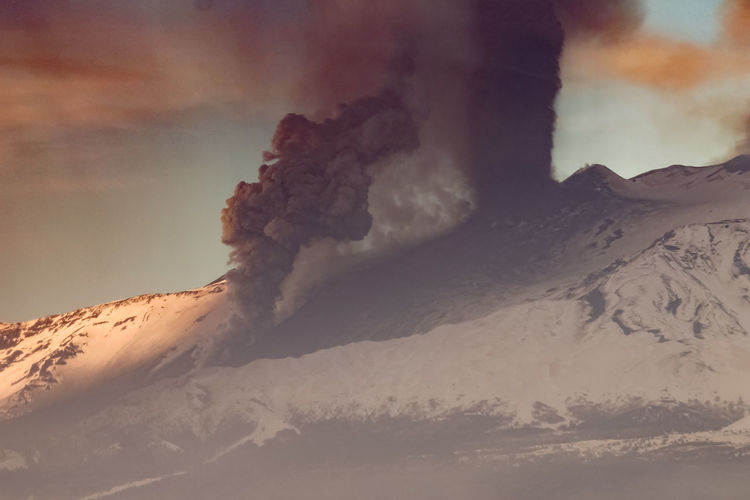 Catania Beauty In Nature Mountain Cloud - Sky Sky Scenics - Nature Volcano Geology Erupting Environment No People Nature Smoke - Physical Structure Non-urban Scene Landscape Power In Nature Tranquil Scene Physical Geography Tranquility Active Volcano Power Outdoors Volcanic Crater Snowcapped Mountain Mountain Peak