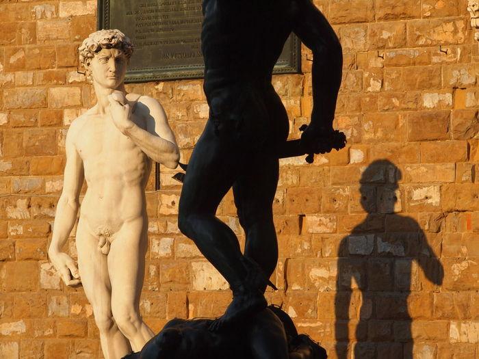 David statue against building