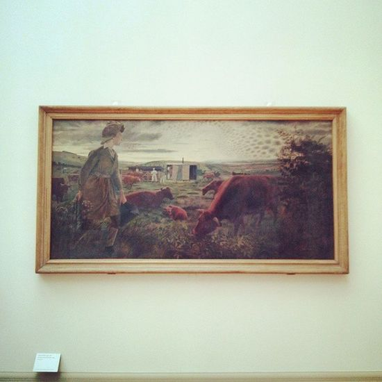 one of my fav Painting here... A Land Girl And The Bail Bull 1945 by Evelyn Dunbar :) Oil on Canvas EvelynDunbar Tate TateBritain Gallery