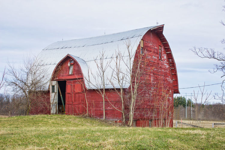 Big Red Barn Architecture Architecure Bar Built Structure Clouds Day Farm Farm Life Grass Hill Michiana Nature No People Outdoors Sky Sky And Clouds Three Oaks Wood
