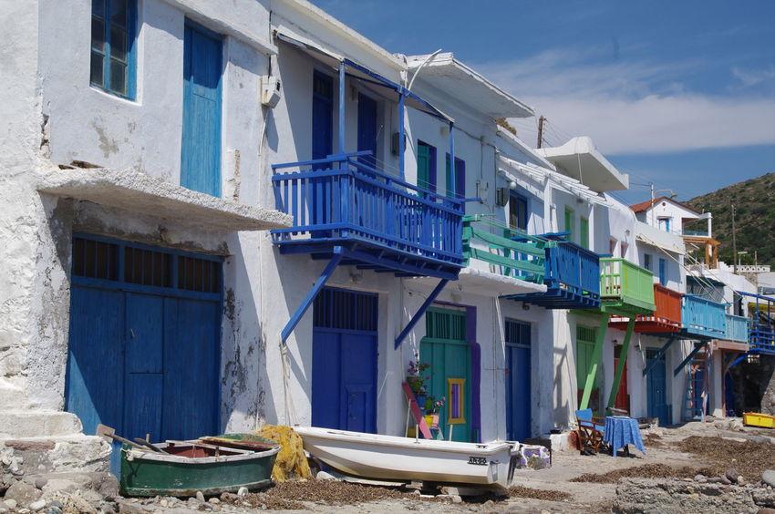 Griechenland Griechische Inseln Meer Milos Island Architecture Blue Boot Building Exterior Built Structure Day Fischerhäuser Greece Milos Nature No People Outdoors Sky