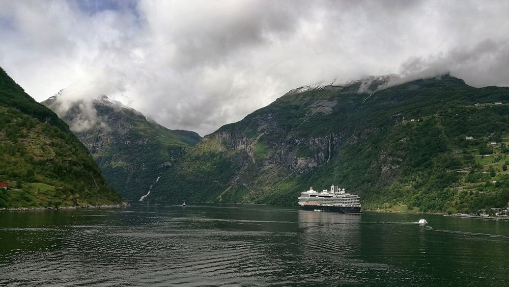 View on the Geirangerfjorf Mountain Outdoors No People Landscape Fjord Geirangerfjord Norway Water Cloud - Sky Beauty In Nature Day Sky Geiranger,Norway Ship Beautiful Nature Beautiful Norway Norway🇳🇴 Norway 2016