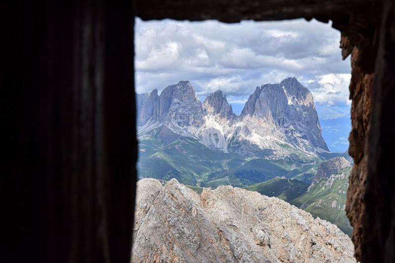 Mountain seen through window