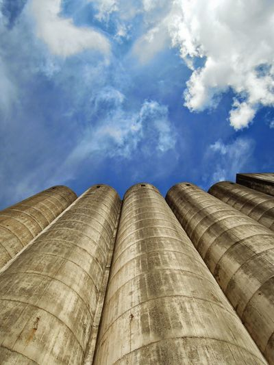 Industrial Clouds And Sky Concrete Wall Cast Concrete Silo Contrast Chimneys