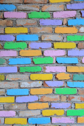 multicolored brick wall texture material Multicolored Bricks Wall Texture Concrete Background Blocks Brickwork  Pattern Painted Color Colorful Blue Green Yellow Brick Cement Clay Abstract Art Backdrop Stone Aged Old Retro Rough Stones Row Stonewall Tile Tiled Urban Vintage Wallpaper Surface Material Building Architecture Construction Effects Design Dirty Grunge Weathered Textured  Concept Creative Vertical Full Frame Repetition